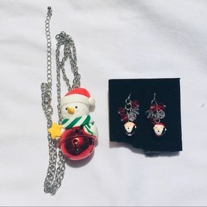 2 pc. CHRISTMAS SANTA EARRINGS & SNOWMAN NECKLACE!